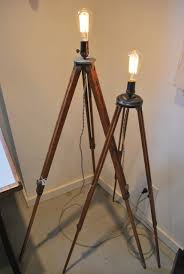 decor cool tripod lamp with ladder shelf and wooden floor for