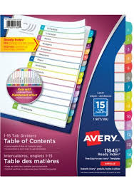 avery 15 tab table of contents color template avery 11845 ready index customizable table of contents dividers