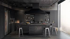 Concrete Kitchen Cabinets Design Perfect Features Kitchen All Black Panelling Concrete