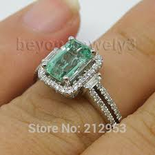 white emerald rings images New vintage 100 natural emerald engagement ring solid 14k white jpg