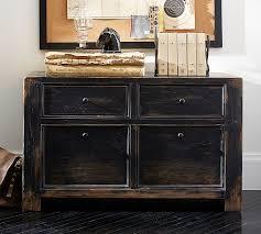 black wood filing cabinet 2 drawer dawson file cabinet pottery barn