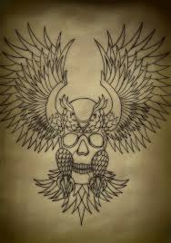 traditional skull within owl flash by battered n bruised on