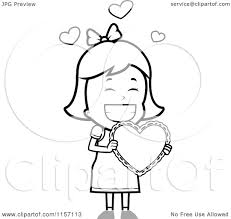 cartoon clipart of a black and white valentine carrying a