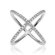 diamond x ring sterling silver diamond x ring free shipping today overstock