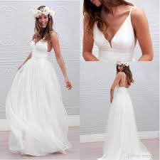 low cost wedding dresses discount boho wedding dresses 2018 spaghetti v