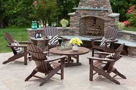 Round Stone Patio Table by Better Homes And Gardens Outdoor Furniture Brown Wooden Garden