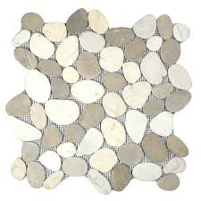 ideas awesome sliced pebble tile for your floor and wall design