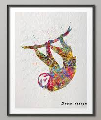 home decor wall posters diy original sloth watercolor canvas painting wall art poster