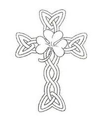 uncolored shamrock celtic cross design tattooshunt com