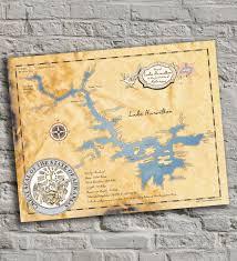 Lake Winnebago Map Lake Hamilton Arkansas Vintage Inspired Lake Map Print