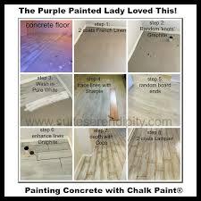 chalk paint on your concrete floor the purple painted lady