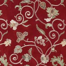ivory upholstery fabric burgundy ivory green embroidered floral vine suede upholstery