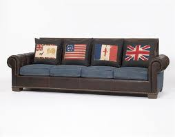 Denim Sectional Sofa Living Room Casual Comfy Sofa Leather With Denim And Four Throw