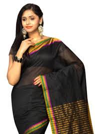 Buy Green Plain Cotton Silk Buy Black Plain Cotton Silk Saree With Blouse Online