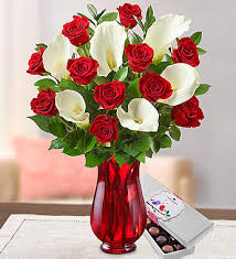 Vases Of Roses Stunning Red Rose U0026 Calla Lily 1800flowers Com 92930