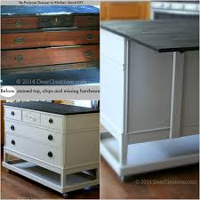 transform an old dresser into a functional kitchen island with