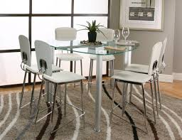bar height glass table bar height dining table set white counter glass circle with silver