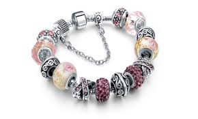 murano glass bead bracelet images Genuine murano glass and swarovski crystal charm bracelet groupon jpg