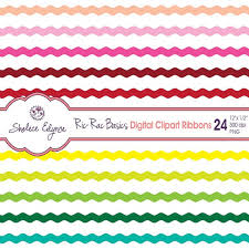 ric rac ribbon digital ric rac ribbons clipart 24 colors 12x 5 inches instant