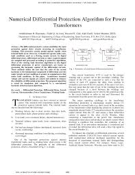 numerical differential protection algorithm for power transformers