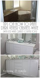 tips on how to paint dark veneer cabinets white with iced white