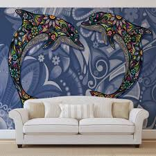 dolphins flowers abstract colours wall paper mural buy at price from