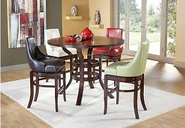 rooms to go dining sets alder merlot 5 pc pub height dining room w chocolate barstools