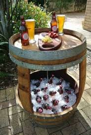 Patio Cooler Table Patio Beverage Cooler Table Made From Whiskey Barrel What A