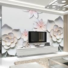 popular floral wall murals buy cheap floral wall murals lots from custom 3d photo wallpaper simple modern 3d stereoscopic relief flower tv background living room bedroom wall