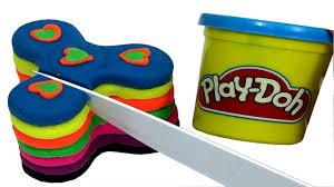 play doh rainbow cake fidget spinners diy cutting open clay craft