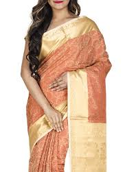 shop mother u0027s day silk saree in light orange colour for festivals