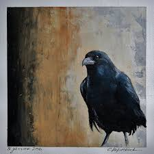 small black bird painting picture black home decor black