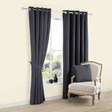 Eyelet Curtains Carina Charcoal Plain Woven Eyelet Lined Curtains W 167 Cm L 228