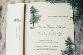 pine tree wedding invitation printable or handmade rustic