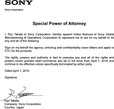 Power Of Attorney Special by Icdtx800 Ic Recorder Cover Letter 02 Fcc Special Power Of Attorney