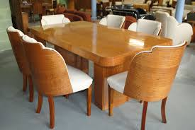 epstein dining table and 6 cloud back chairs in fiddle back maple