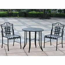 Clearance Patio Furniture Home Depot by Patio Miramar Ii 3 Piece Patio Bistro Set With Tan Cushions