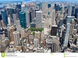 Midtown Manhattan Map New York City Manhattan Midtown View With Skyscrapers And Blue Sky