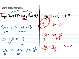 solving logarithmic equations and inequalities math algebra 2 logarithmic functions solving logarithmic equations showme