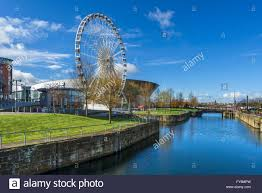 the echo arena and wheel of liverpool looking over dukes dock