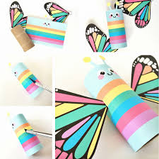 hello wonderful rainbow butterfly paper tube craft with free