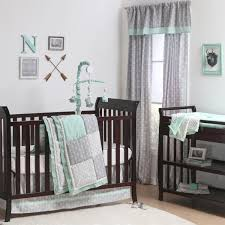 Gray Baby Crib Bedding Adventure Patch Crib Starter Set In Mint Grey