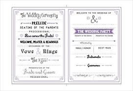 wedding bulletins exles wedding program template 61 free word pdf psd documents