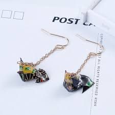 origami earrings 8seasons washi japanese paper origami earrings gold color black