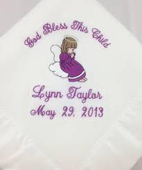 Baptism Blanket Personalized Fleece Christening Baptism Baby Blanket Personalized Baby Gift