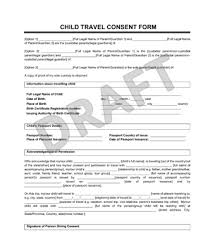 Sle Of Authorization Letter For Certification Of Employment Child Travel Consent Form Create A Letter Of Consent
