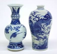 Antique Oriental Vases Pair Bulbous Porcelain Vases Chinese Nanking Blue White China