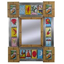 Mexican Furniture Small Loteria Mexican Folk Art Mirror