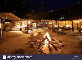 Buffet Set Up by Bonfire In The Middle Of The Lodges With Buffet Set Up In