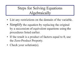 steps for solving equations algebraically